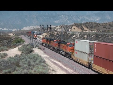 A Busy Day of Trains on Cajon Pass in July 2015 Part 1 HD