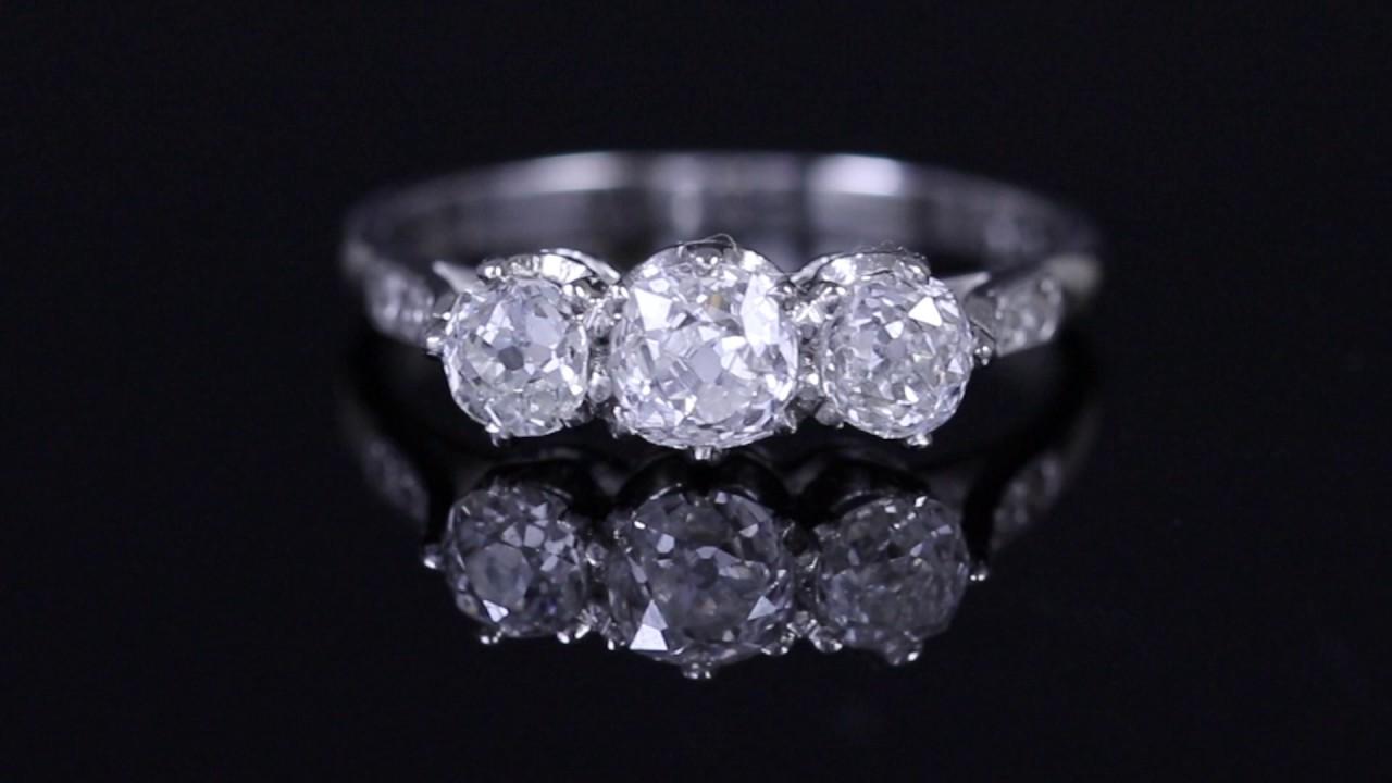 Antique Edwardian 1.24ct Old Cut Diamond Trilogy Platinum Ring