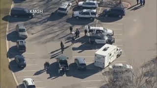 Aerials of Columbine H.S. lockout due to suspicious person near campus