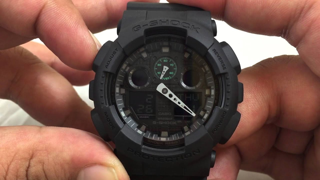 a6de10ddfde7fc Casio GSHOCK Military GA100MB-1A REVIEW | How To Set Time | LIGHT DISPLAY