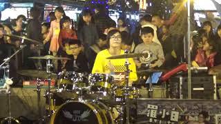 羅小白新北市樹林區興仁夜市爵士鼓街頭表演.