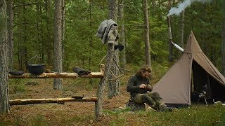 3 days solo bushcraft - stove, canvas lavvu, table and spoon making