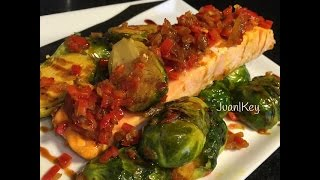 Salmon With Saute Brussels Sprout Red Pepper And Red Onion
