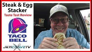 Taco Bell Steak & Egg Breakfast Stacker Review 🌮 ✔   JKMCraveTV
