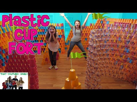 Thumbnail: WE BUILT A HUGE PLASTIC CUP FORT! / That YouTub3 Family