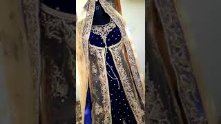 Blue bridal trail gown with jacket(5)