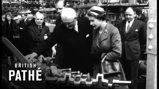 Unissued / unused material. queen elizabeth and prince philip, duke of edinburgh visit jaguar car factory. coventry, west midlands. various shots as el...