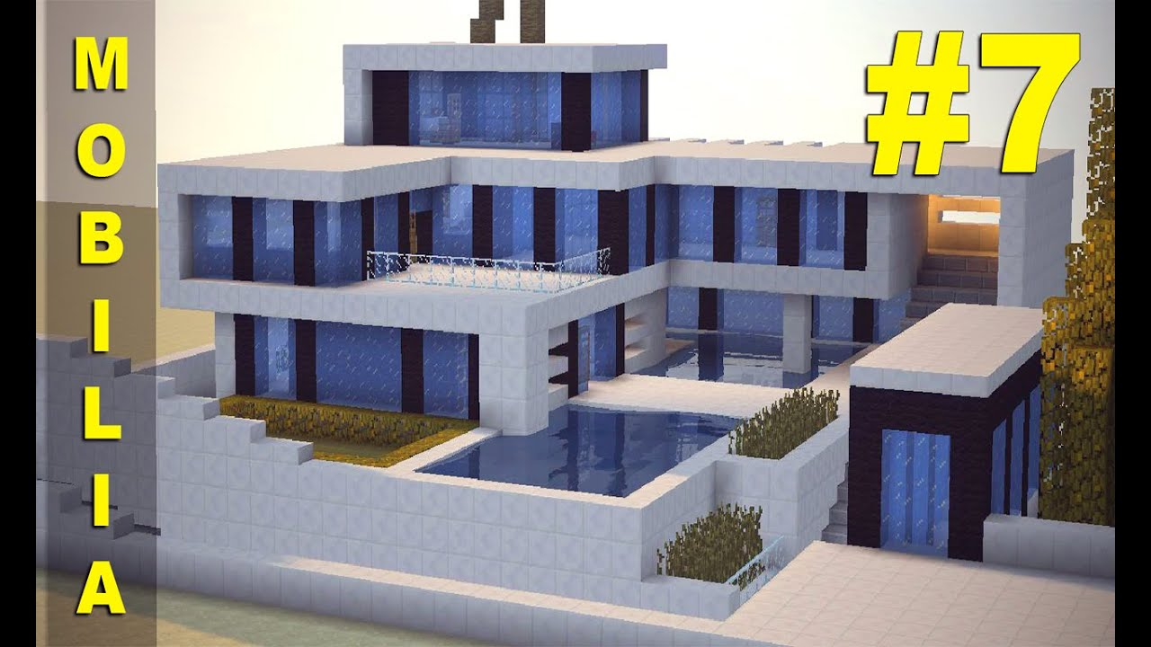 Minecraft tutorial casa super moderna mobilia youtube for Casa moderna y grande en minecraft