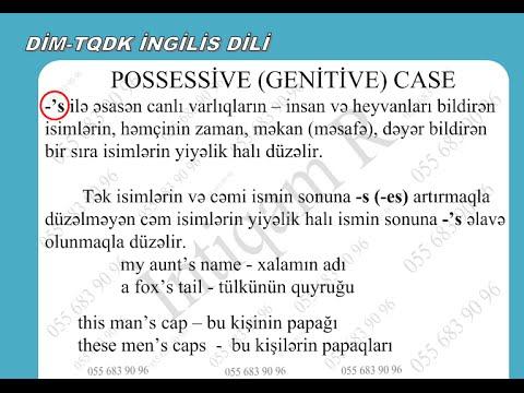Dim Tqdk Ingilis Dili Possessive Genitive Case Ismin Yiyəlik Hali Youtube
