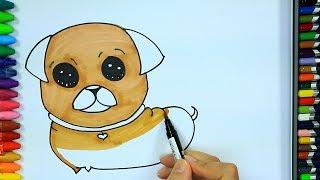 Как нарисовать мопса 💛  Раскраски детей HD   Окраска   Рисование и окраска   Рисование для детей