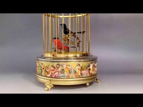VINTAGE REUGE CAPODIMONTE SINGING BIRD CAGE AUTOMATON MUSIC BOX
