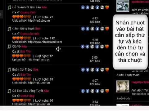 Sap xep bai hat trong playlist karaoke.com.vn