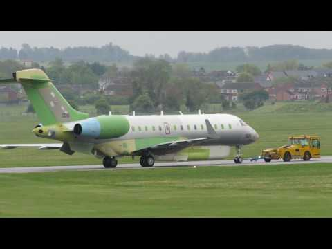 Modified Bombardier Global Express 1326 makes her first outing at Cambridge Airport