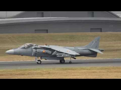 The full show of the Harrier Jump Jet at the Farnborough Air Show, July 2018