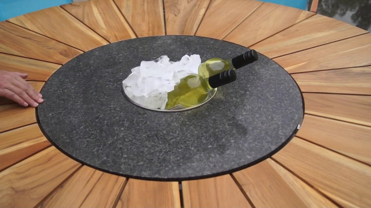 outflexx esstisch mit drehbarer granitplatte und eisk hler. Black Bedroom Furniture Sets. Home Design Ideas