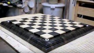 Изготовление торцевой шахматной доски из мореного дуба