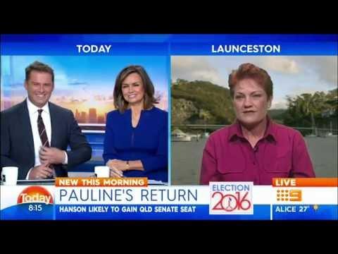 Pauline Hanson Tipped to win Queensland Senate Seat