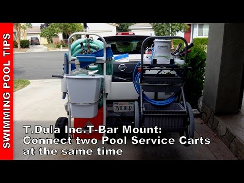 T-Bar Mount: Connect Two Pool Service Carts to Your Truck at the Same Time