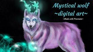 Mystical Wolf Drawing