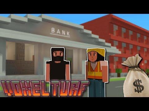 MAKING MONEY & BANK HEIST! - Voxel Turf Gameplay - Making Money & Buying Buildings!