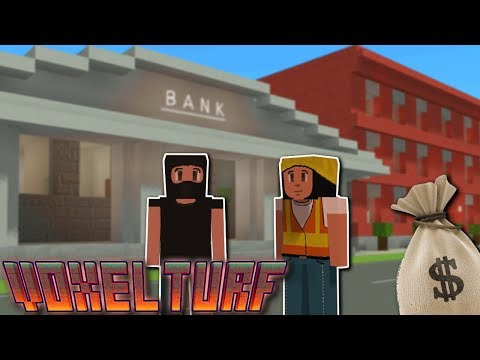 MAKING MONEY & BANK HEIST! - Voxel Turf Gameplay - Making Money & Buying Buildings!