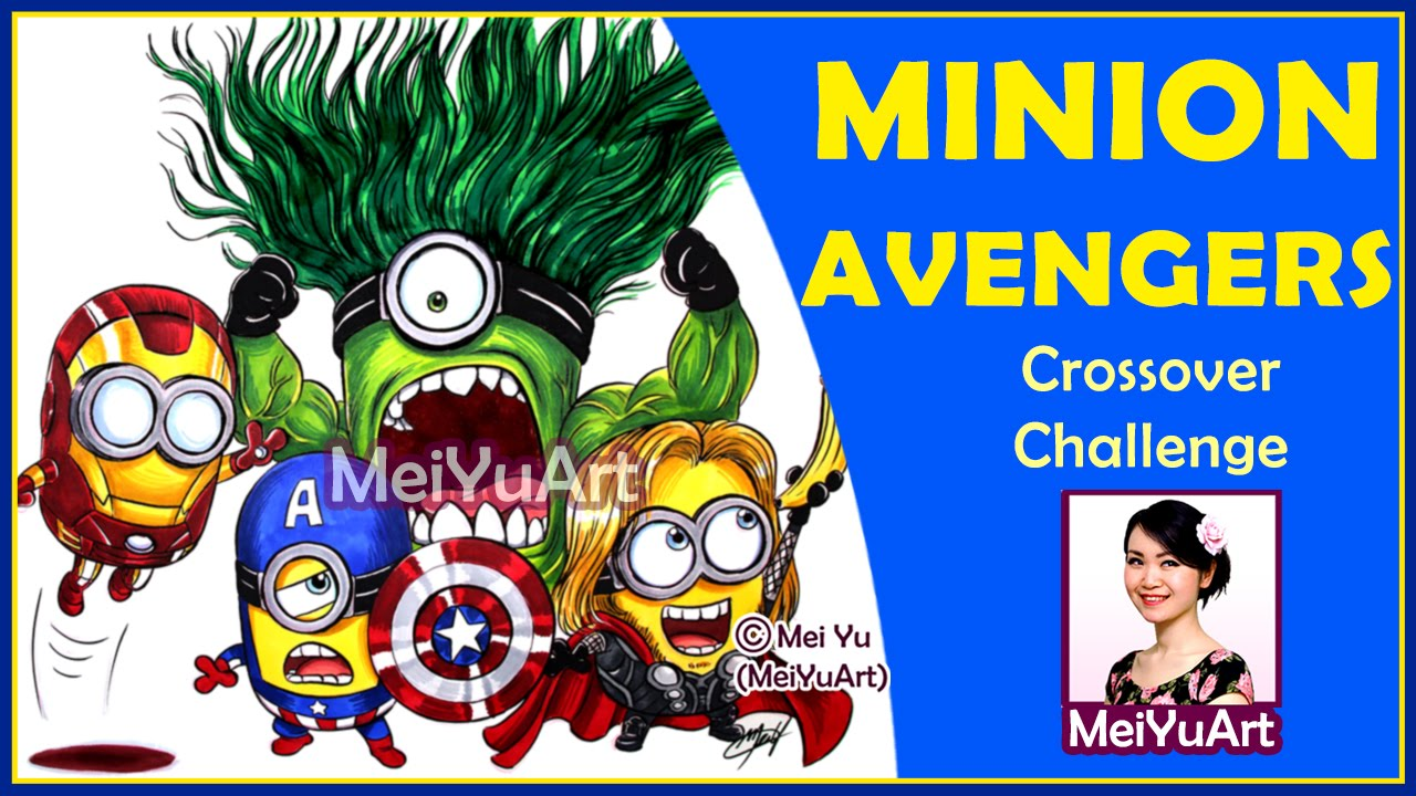 amazing minion avengers speed drawing crossover twist