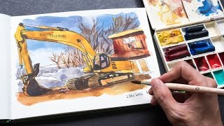 Sketching a Digger with Pen Ink & Daniel Smith Watercolor Sticks (tutorial)