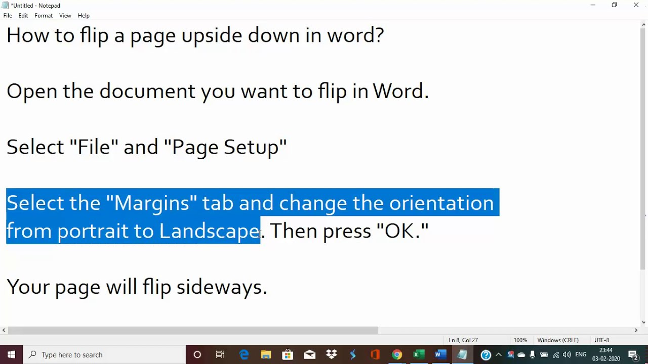 How to flip a page upside down in Microsoft word 10/10/10/10/10