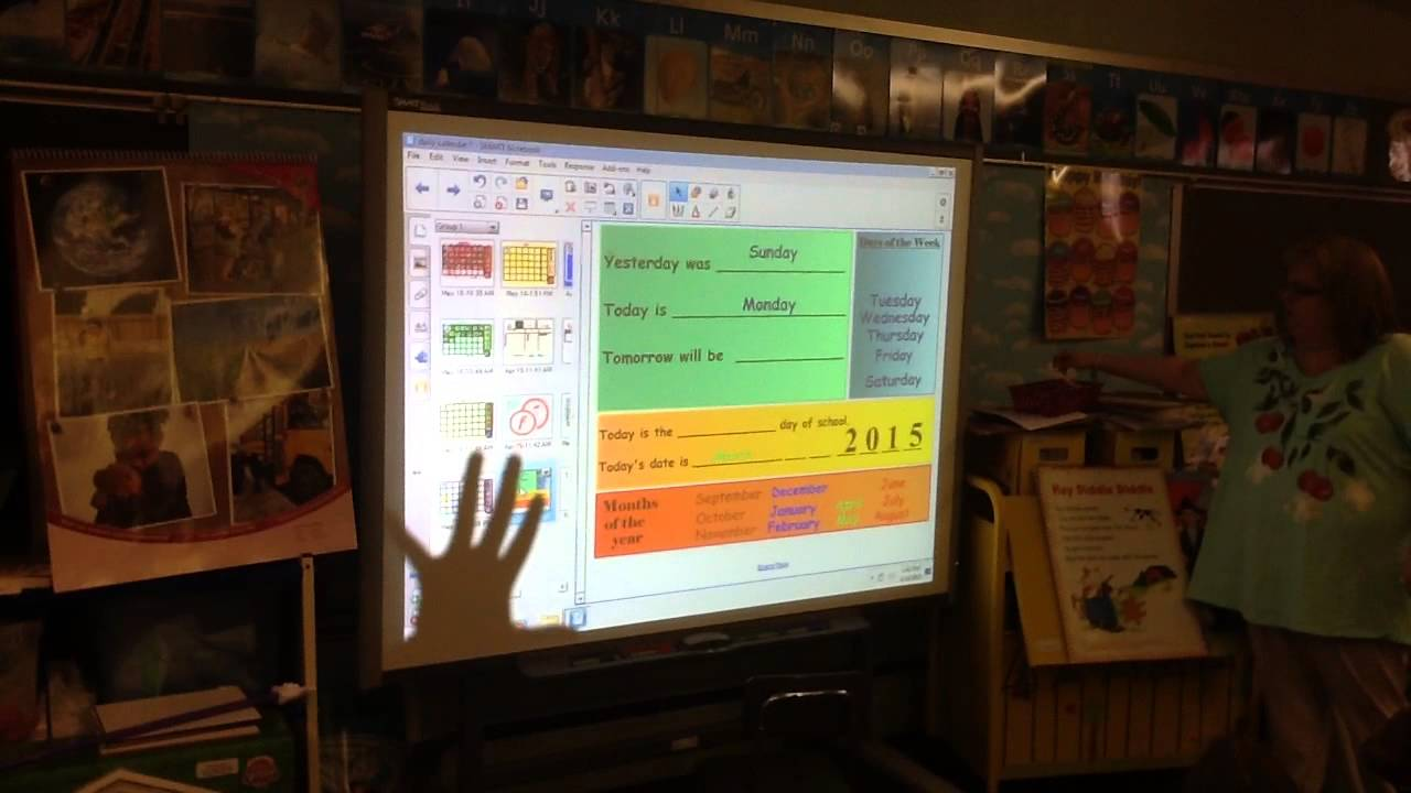 Kindergarten Calendar Interactive Whiteboard : Smartboard kindergarten calendar lesson youtube