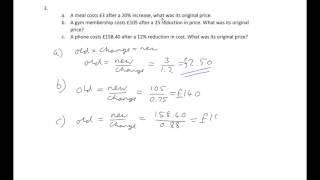 Percentage change Advanced questions