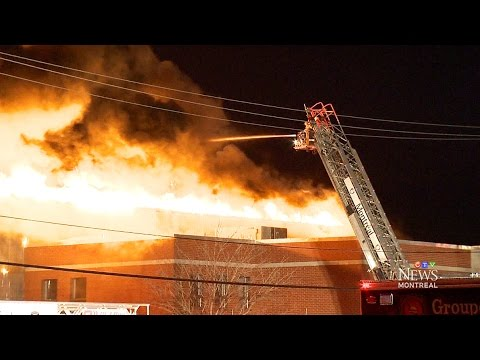 Five-alarm fire destroys building in Montreal