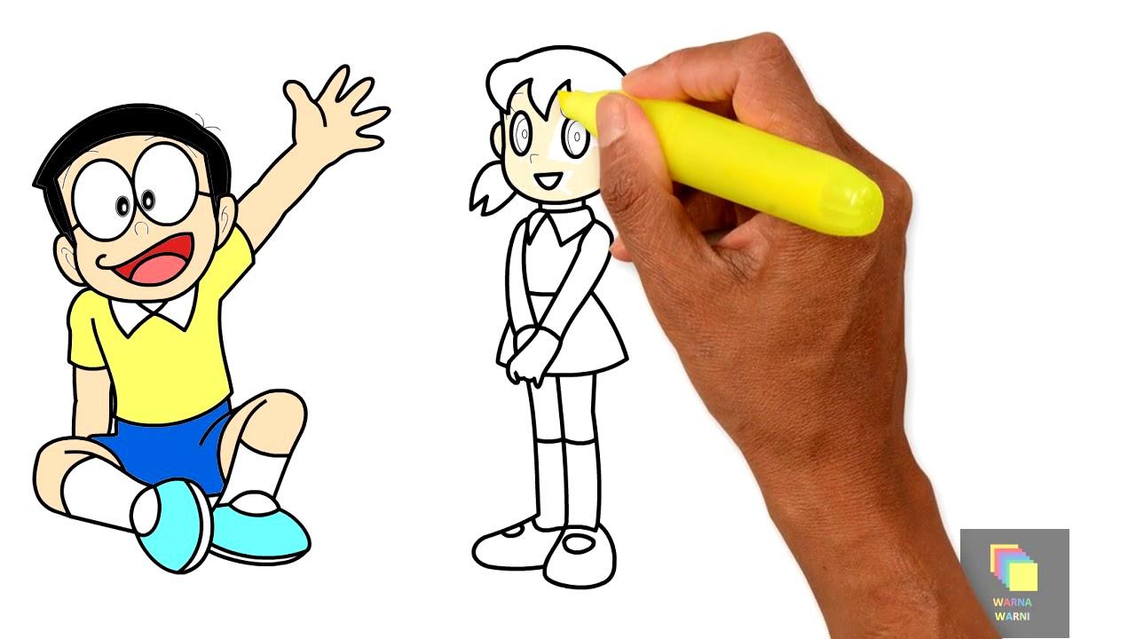 Belajar Menggambar Dan Mewarnai Nobita Shizuka Dan Suneo