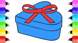Glitter Gift box DIY How to Draw and Color Gift Box Learn Colors | Drawing Extra