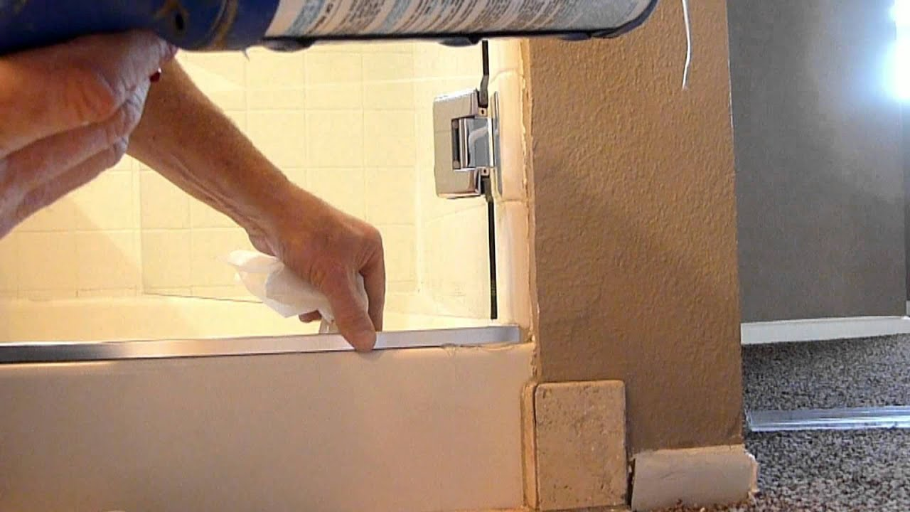 Frameless shower door leaks - YouTube