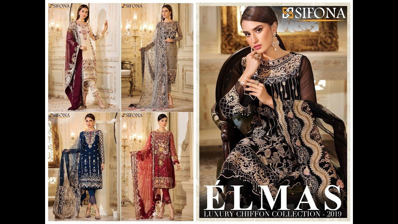4e36316fd7 SIFONA Elmas Luxury Embroidered Chiffon Collection 2019-20 Vol-1 ...
