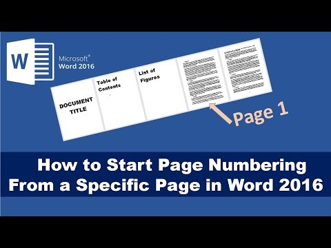 How to Start Page Numbering From a Specific Page in Word 2016