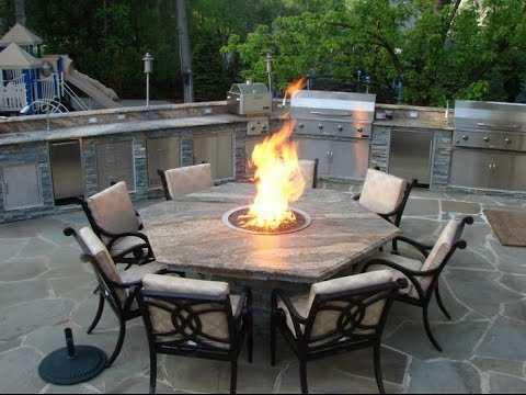 Round Fire Pit Dining Table - YouTube on Outdoor Dining Tables With Fire Pit id=66192