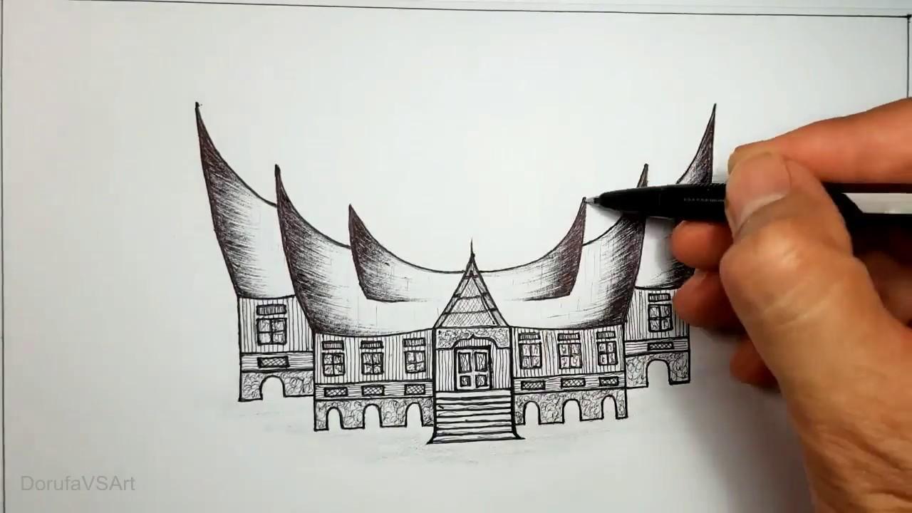 Cara Menggambar Rumah Gadang Rumah Adat Minangkabau Sumatra Barat