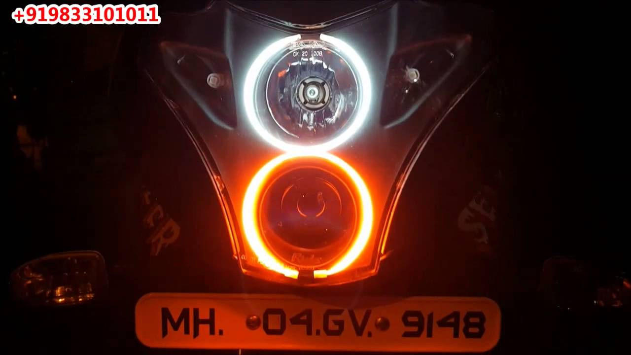 Pulsar 220 New Dual Angel Eyes Occhi Xenon di Avmod - Youtube-9595