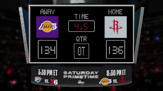 Stay up to date with the Lakers @ Rockets LIVE scoreboard and catch all the action on #NBAonABC!