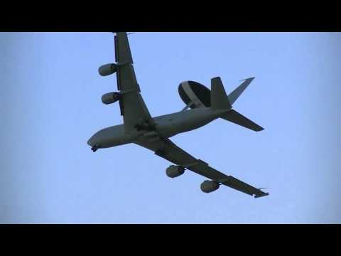 Sentry AEWI Boeing E-3D Flying Past and Banking Leuchars Air Show 2012