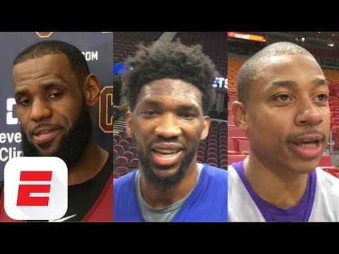 LeBron James, Isaiah Thomas, Joel Embiid react to James Harden's crossover on Wesley Johnson | ESPN