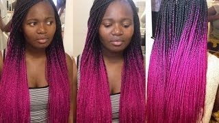 how to do box braids   pink tutorial
