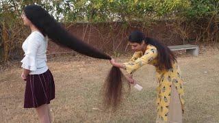 বিশ্বরেকর্ড চুলের দৈর্ঘ্য ১৯০ সেন্টিমিটার ভারতীয় কিশোরীর || World Records of Long Hair