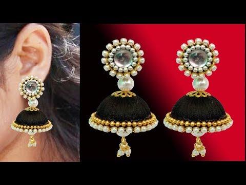 silk thread earrings making // silk thread jewellery making tutorial // at home jhumkas making