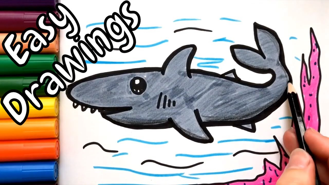583 Mb Easy Drawings For Kids How To Draw A Cute Shark