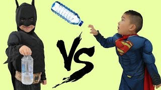Superhero Bottle Flip Challenge Batman Vs Superman Kids Amazing Trick Shots Fun With Ckn Toys