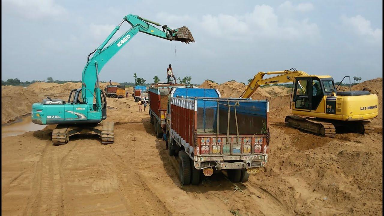 Kobelco SK 210 Vs L&T Komatshu PC 130 at Sand