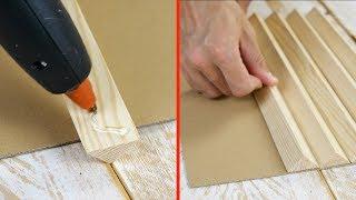 Pega cuatro cintas de madera sobre un cartón. El resultado es una ilusión óptica inigualable