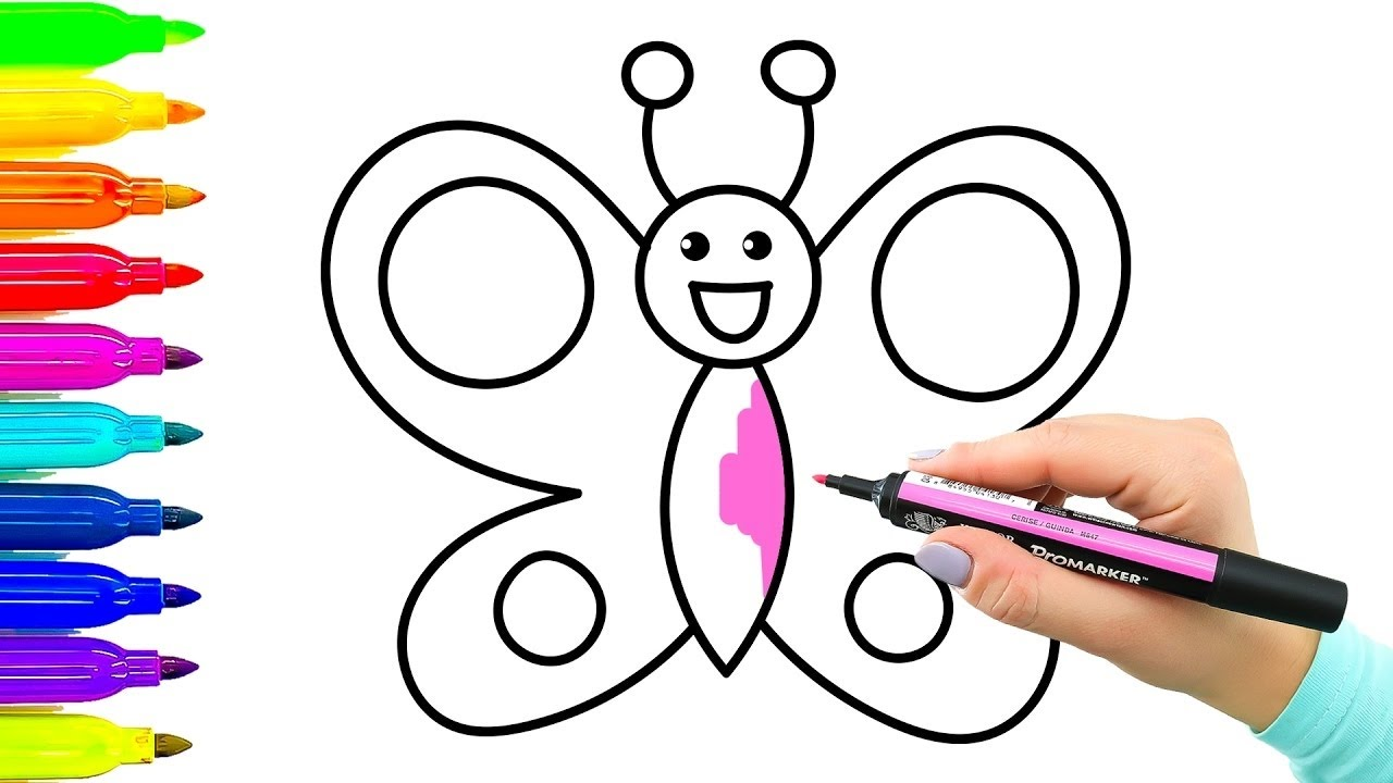 Ejemplo Simple Cómo Dibujar Mariposa Libro Para Colorear Con Marcadores De Colores